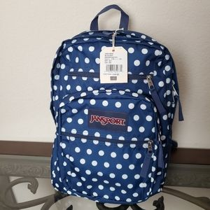 Jansport Big Student Backpack Dark Denim Polka Dot